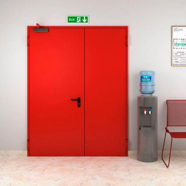 Дверь металлическая противопожарная двустворчатая EI60 ДМП 21-12.5 - 2