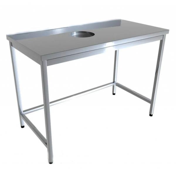 Стол промышленый с отверстием для отходов без борта 4D61-4D71 - 1