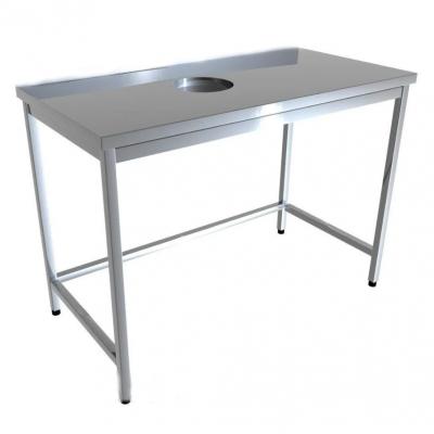 Стол промышленый с отверстием для отходов без борта 4D41-4D51