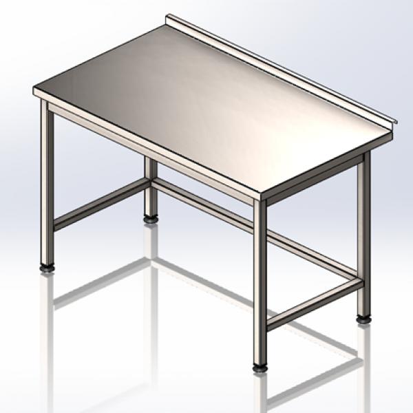 Стол промышленный без полки с полу объёмным бортом 1200х600х850 - 1