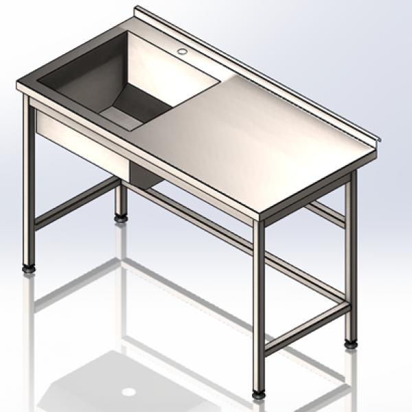 Стол-мойка с полу объёмным бортом 1200х600х850 - 1
